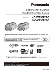 The cover of Panasonic HC-W850P/PC, HC-V750P/PC Camcorder Basic Owner's Manual