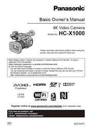 The cover of Panasonic HC-X1000 4K Camcorder Basic Owner's Manual