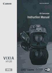 The cover of Canon VIXIA HF G30 Camcorder Instruction Manual