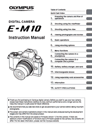 The cover of Olympus OM-D E-M10 Digital Camera Instruction Manual