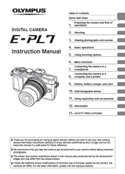 The cover of Olympus PEN E-PL7 Digital Camera Instruction Manual