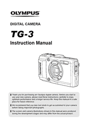 The cover of Olympus TG-3 Digital Camera Instruction Manual