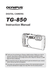 The cover of Olympus Tough TG-850 Digital Camera Instruction Manual