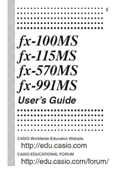 The cover of Casio fx-100MS, fx-115MS, fx-570MS, fx-991MS Calculators User Guide