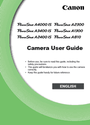 The cover of Canon PowerShot A4000 IS, A3400 IS, A2400 IS, A2300, A1300, A810 Digital Cameras User Guide
