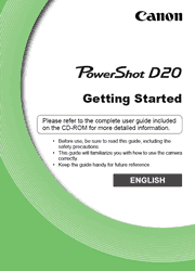 The cover of Canon PowerShot D20 Digital Camera Getting Started