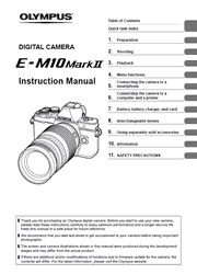 The cover of Olympus OM-D E-M10 Mark II Digital Camera Instruction Manual