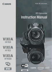 The cover of Canon VIXIA HF R50, VIXIA HF R52, VIXIA HF R500 Camcorders Instruction Manual