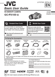 The cover of JVC GC-PX100 HD Camcorder Basic User Guide