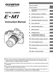 The cover of Olympus OM-D E-M1 Digital Camera Instruction Manual