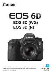 The cover of Canon EOS 6D (WG), EOS 6D (N) Digital Camera Instruction Manual