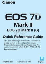 The cover of Canon EOS 7D Mark II Digital Camera Quick Reference Guide