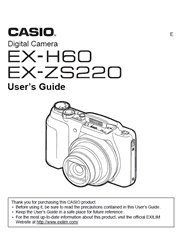 The cover of Casio EX-H60, EX-ZS220 Digital Cameras User Guide