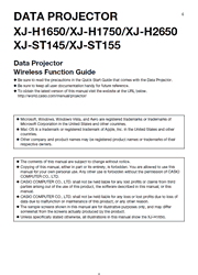 The cover of Casio XJ-H1650, XJ-H1750, XJ-H2650, XJ-ST145, XJ-ST155 Projectors Wireless Function Guide