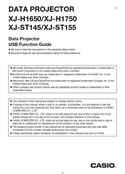 The cover of Casio XJ-H1650, XJ-H1750, XJ-ST145, XJ-ST155 Projectors USB Function Guide