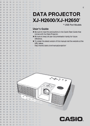 The cover of Casio XJ-H2600, XJ-H2650 Projectors User Guide