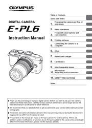 The cover of Olympus PEN E-PL6 Digital Camera Instruction Manual