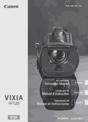 The cover of Canon VIXIA HF G20 Camcorder Instruction Manual