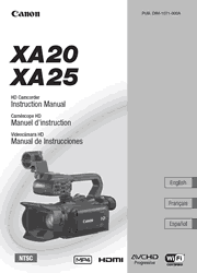 The cover of Canon XA20, XA25 Professional Camcorders Instruction Manual