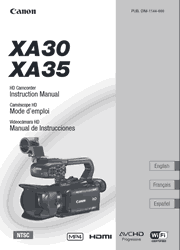 The cover of Canon XA30, XA35 Professional HD Camcorders Instruction Manual